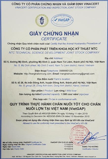 chứng nhận trang trại lợn rừng NTC đạt tiêu chuẩn Vietgap